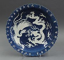 Chinese Powder Blue Charger, Dragon