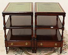 Pair of Georgian style tiered occasional tables