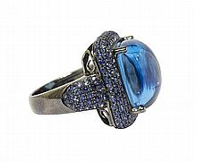 Blue topaz, sapphire and sterling silver ring