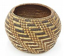 Puget Sound basket, of spherical form with polychrome repeating geometric design, 5