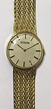 LeCoultre yellow gold wristwatch, manual wind movement...