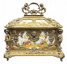 KPM porcelain and gilt bronze mounted casket