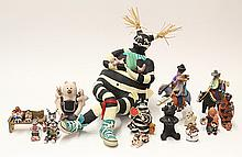 Large collection of Native American storyteller figures