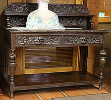 Spanish Revival carved oak server