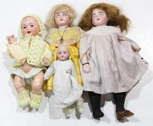 (lot of 4) Continental bisque dolls, comprising an Armand Marseille 326 A4M character baby, having a socket head with molded hair, b...