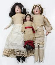 (lot of 3) Continental bisque dolls, comprising a Karl Hartmann 265 118, HB 2/0 shoulder doll with blue glass sleep eyes, feathered ...
