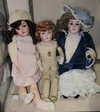 (lot of 3) German bisque dolls, comprising a Kestner dep 154/13, having a shoulder head with brown glass sleep eyes, feathered brows...
