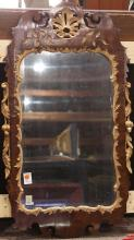 George II walnut and parcel gilt looking glass