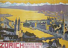 Vintage Travel Poster, Adolphe Tieche, Zurich