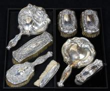American sterling silver mounted dresser accessories