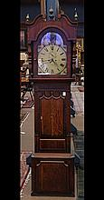 George III oak tall case clock, circa 1780, the hooded top having a single door opening to the enamel decorated Roman numeral dial, ...