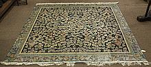 Chinese part silk rug, with a grape design on a blue ground, 8' x 8'