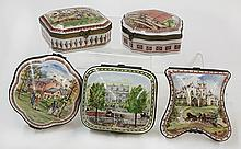 (lot of 5) French porcelain transfer decorated boxes, executed in a limited edition by Porcelain de Paris National Trust for Histori...