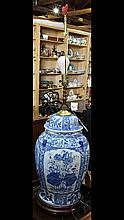 Chinese blue and white lidded urn