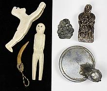 (lot of 6) Native American decorative group, including (2) Inuit whale bone carvings depicting human figures, one standing and one s...