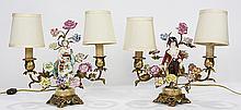 Pair of Dresden figures mounted as boudoir lamps