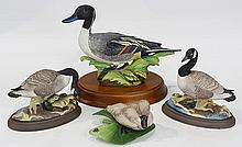 (lot of 4) Porcelain game bird figures, consisting of a limited edition Crown Staffordshire figure of a mallard duck by Peter Scott,...