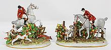 Pair of German  porcelain fox hunting groups by C