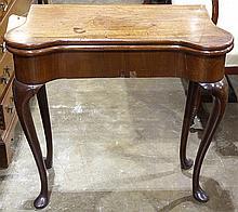 George II walnut card table
