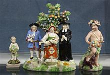 (lot of 3) Derby soft paste porcelain figural groups