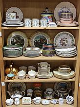(lot of 150) Four shelves of Continental porcelain tableware including a set of (10) Staffordshire green-ground plates, 19th century...