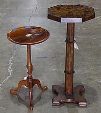 (lot of 2) Biedermeier style distressed fruitwood pedestal with octagonal top, rising on an octagonal standard; together with an Eng...