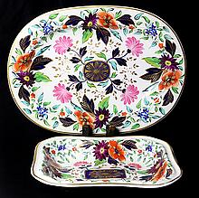 (lot of 2) English Derby hand painted porcelain dishes
