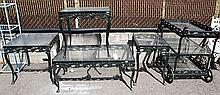 Contemporary painted metal garden set consisting of three side tables, a low table, and a three tiered rolling cart, each...