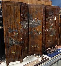 Chinese Six Panel Wood Screen