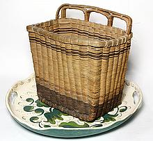 (lot of 2) Associated decoratives, consisting of a polychrome mail basket, 12