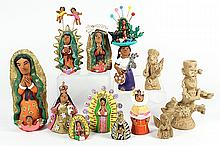 (lot of 12) Josefina Aguilar Mexican pottery figures, executed in polychrome decorated clay