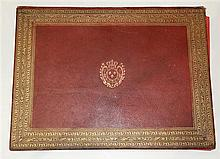 Armorial leather porfolio having an embossed gilt decorated border
