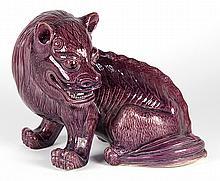 Chinese Aubergine Porcelain Beast
