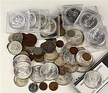 (Lot of 68) Collection of US and World coins, consisting of (14) Lincoln Wheat Ear Pennies, mostly 1916-1936; (1) 1925S California D...