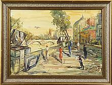 Watercolors, Street Scenes with Figures by the Seine, Paris