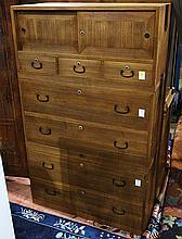 Japanese Three-section Drawer Type Tansu Chests