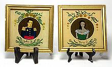 (lot of 2) Pair of reverse painted on glass portraits