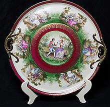 Royal Vienna transfer decorated tray, of circular form with pierced handles, centering a scene of a courting couple in 18th century ...