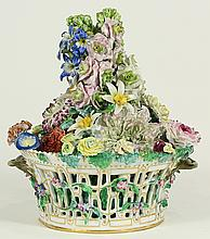 Royal Copenhagen polychrome decorated basket of flowers