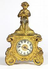 Waterbury Clock Co figural desk clock in the Rococo taste