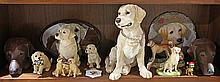 (lot of 13) Labrador Retriever figures and a pair of  Dachshund head bookends