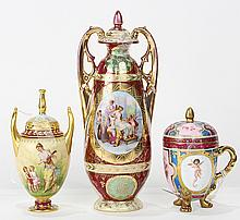 (lot of 3) Royal Vienna parcel gilt porcelain group, comprising a diminutive lidded urn having a tall gilt finial and handles, depic...