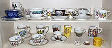 (lot of 28) Collection of assorted porcelain cups and saucers, including (12) Royal Worcester demitasse cups and saucers having a gi...
