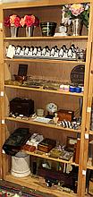 (lot of 60) Six shelves of associated decorative items, including a casket form box, an enamel on metal nut service, (2) penguin for...