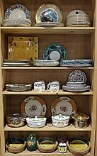 (lot of approximately 78) Continental porcelain and art pottery tableware, including Staffordshire Cauldon ware floral decorated pla...