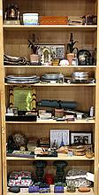 (lot of approximately 100) Vintage decorative items, including pewter plates, monogramed playing cards,