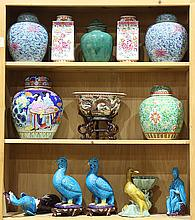 Three Shelves of Chinese Porcelain, Birds, Jars