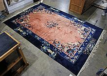 Art Deco style Chinese rug, blue and coral with auspicious symbols, 6' x 9'