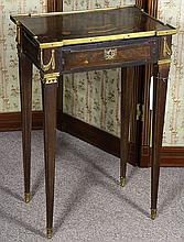 Louis XVI style marquetry decorated ladies writing desk, having a rectangular inlaid sliding top decorated with a reserve of books a...