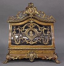French Napoleon III ormolu mounted stationary stand, circa 1870, the crest with central cabachon medallion flanked with scrolled acc...
